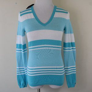 Size XS Pima Cotton Striped Lightweight Sweater